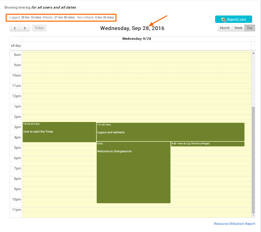 Calendar view date wise total time log