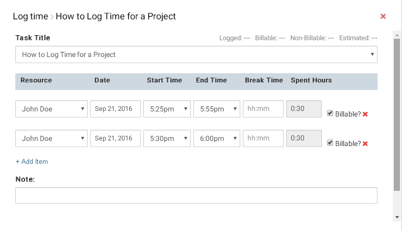 Log time popup