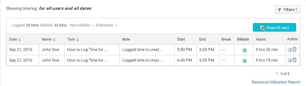 Time Log Sheet