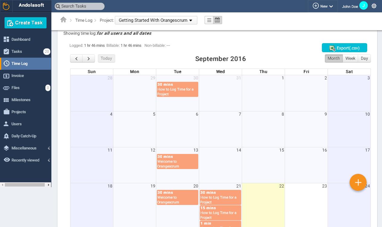 Time Log calendar view