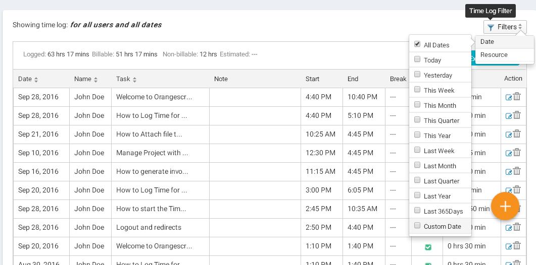 Time Log date filter