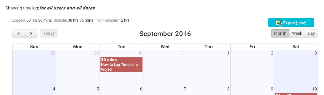 Time Log edit in calendar