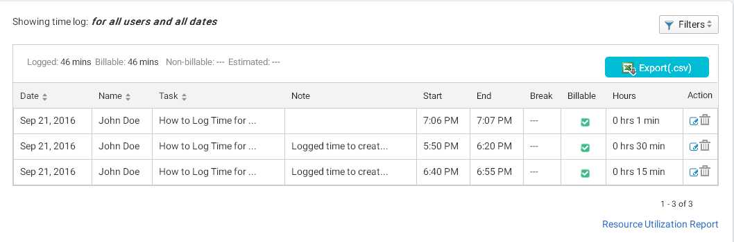 Time Log sheet page