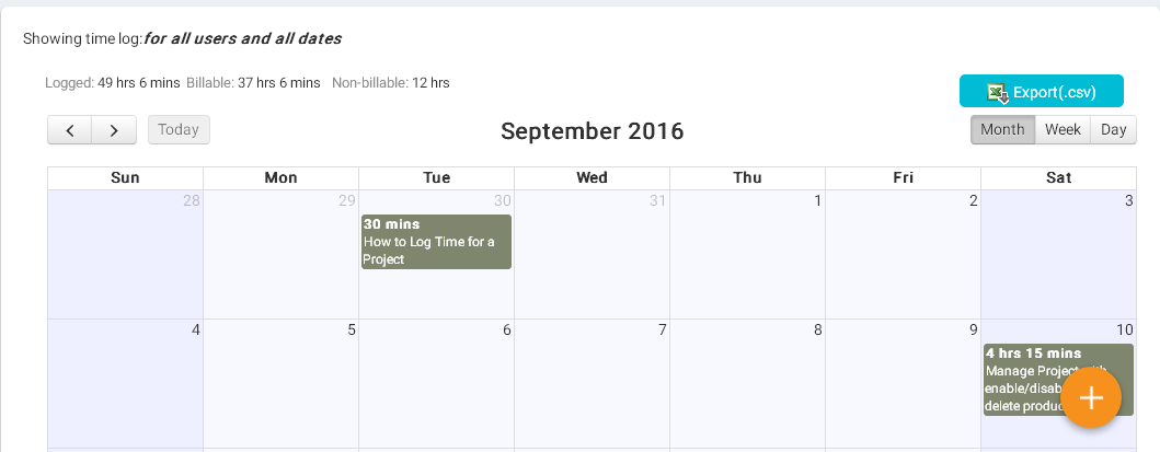 Total billable hours in calendar view