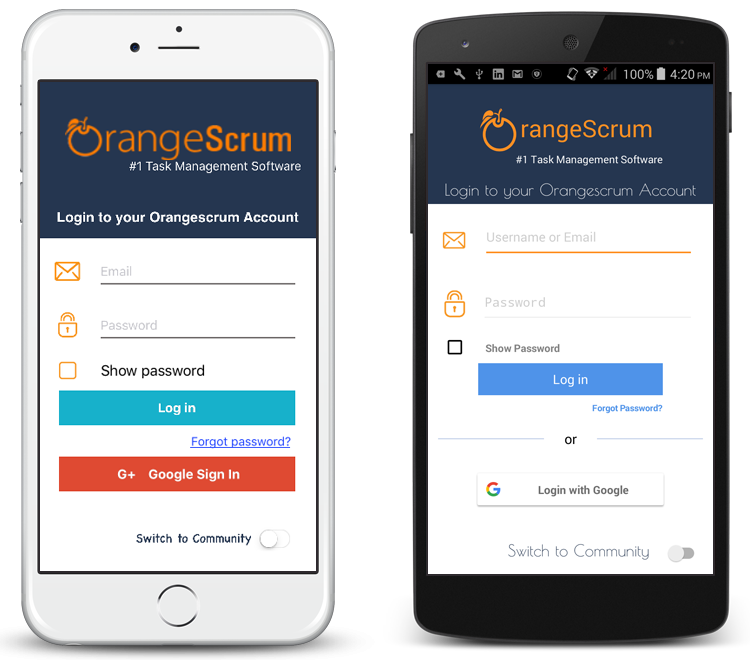 Orangescrum Mobile App Login