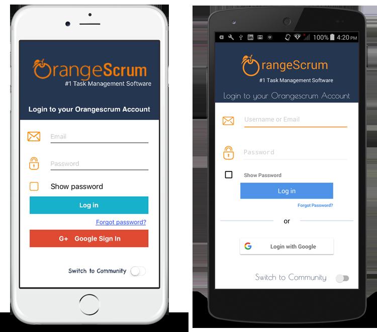 Orangescrum Mobile App Login