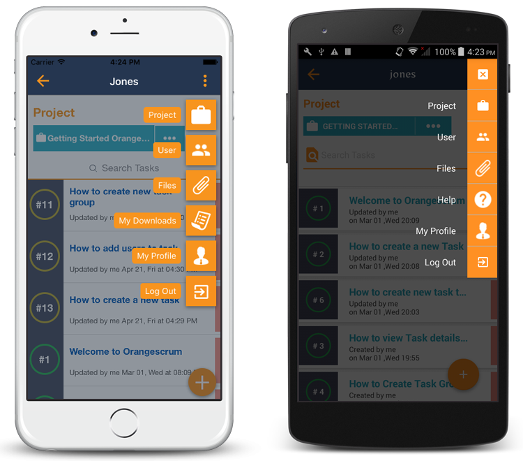 Orangescrum Mobile App features
