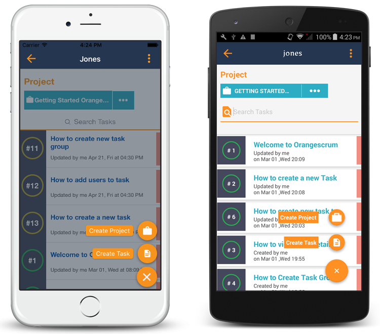 Create Project and task in Orangescrum mobile app