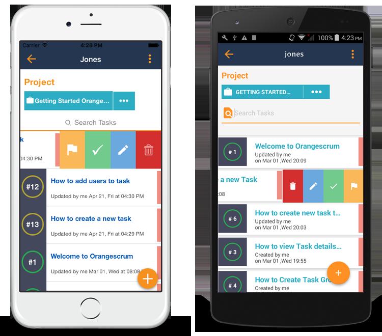 Orangescrum Tasks in Mobile App