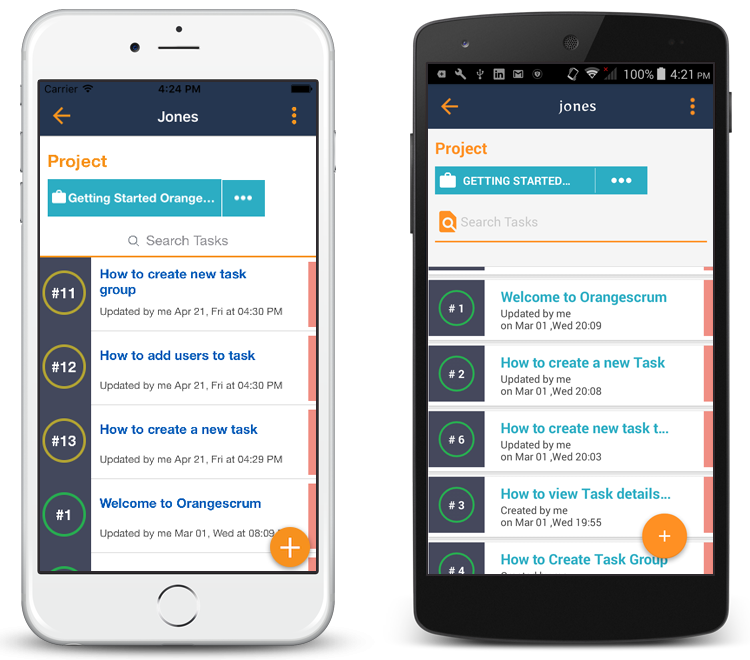 Orangescrum mobile app task list page