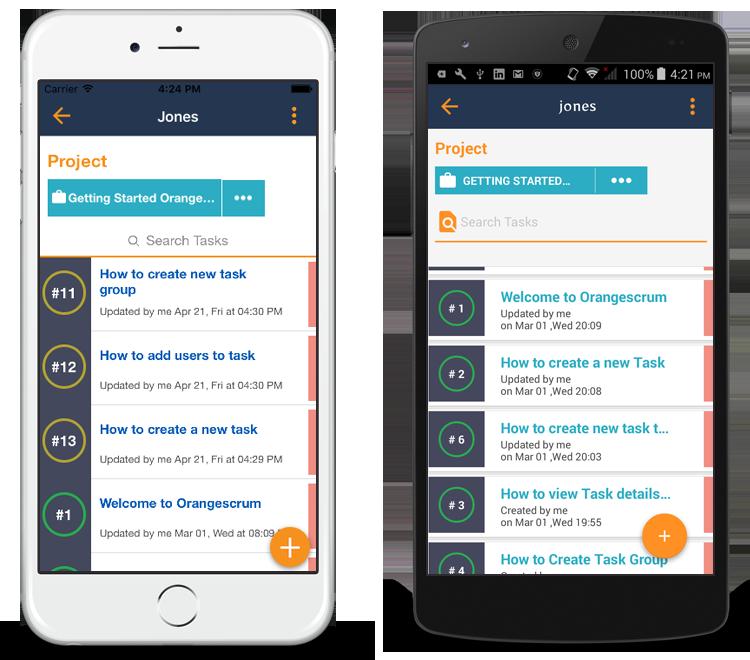 Orangescrum mobile app task list page