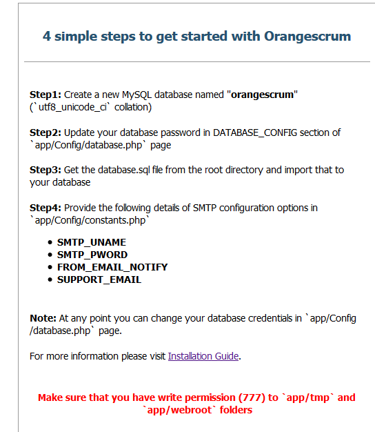 Orangescrum 4 simple steps issue