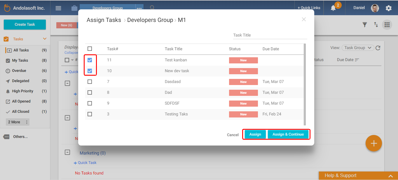 Assign task in task group