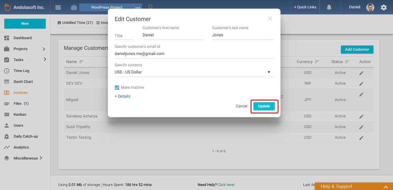 Change customer status