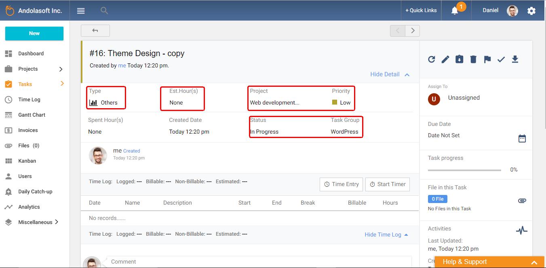 Copy task details