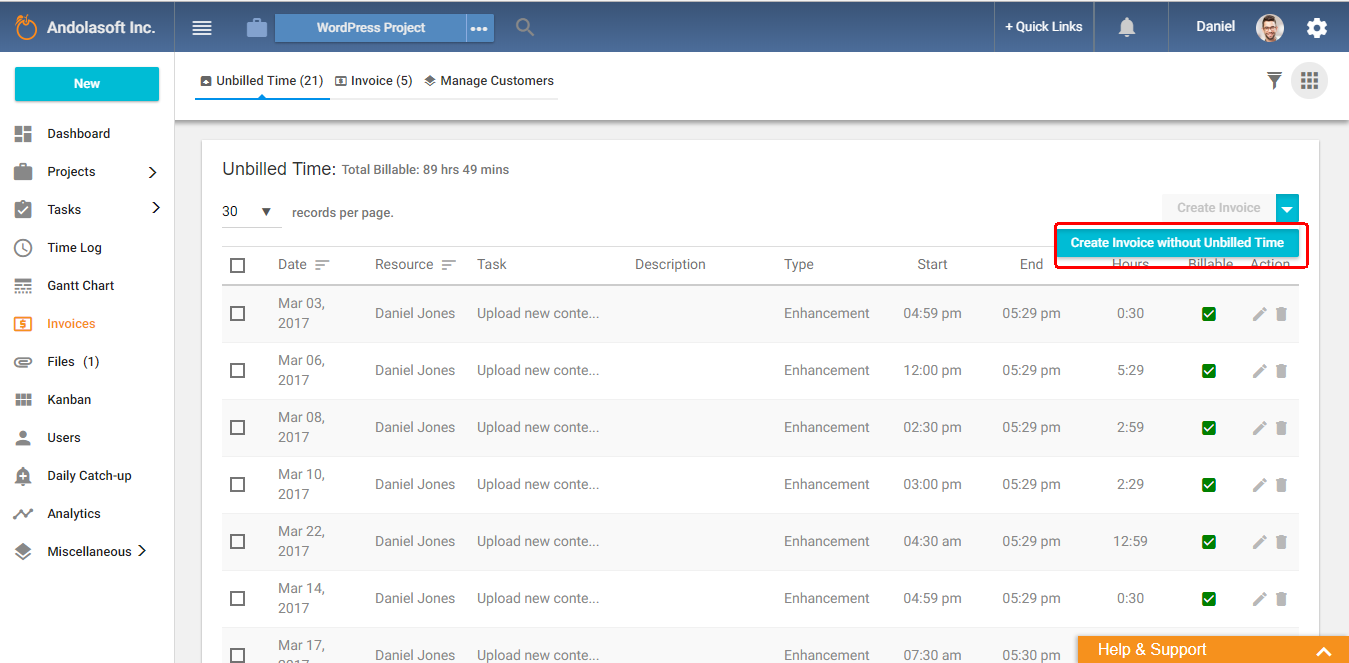 Create invoice without unbilled time
