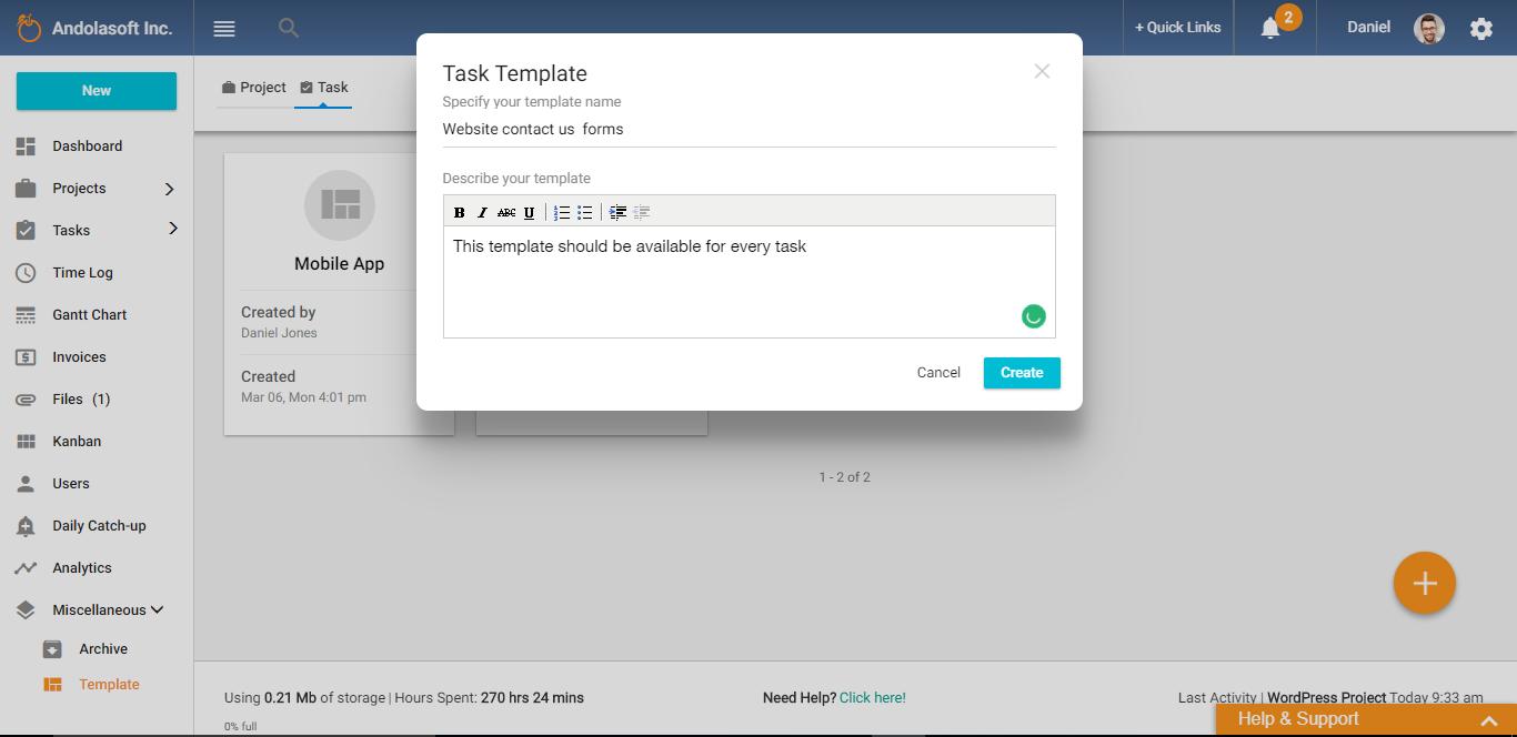 Create task template