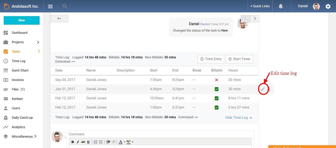 Edit time log from task details