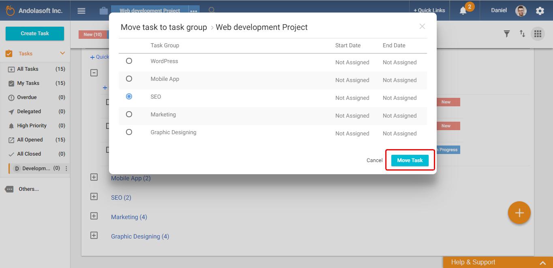 Move task to task group