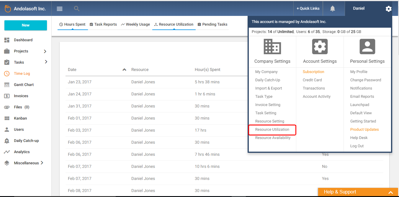 Resource utilization from setting