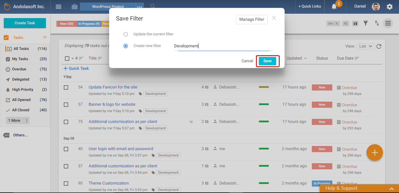 Save filter