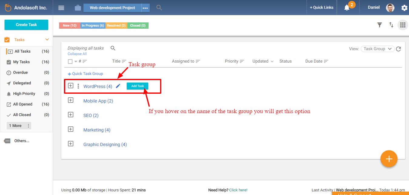Task group listing