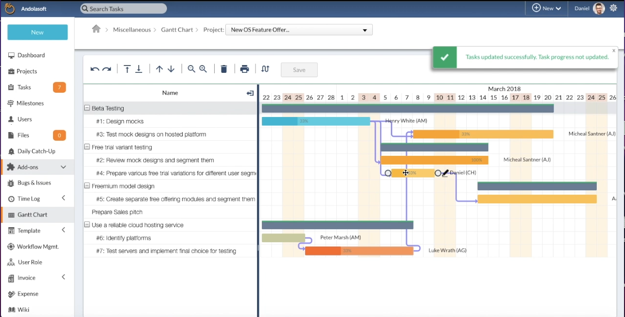 Simplified Schedule Management with Gantt Chart Add-On | OrangeScrum Open Source