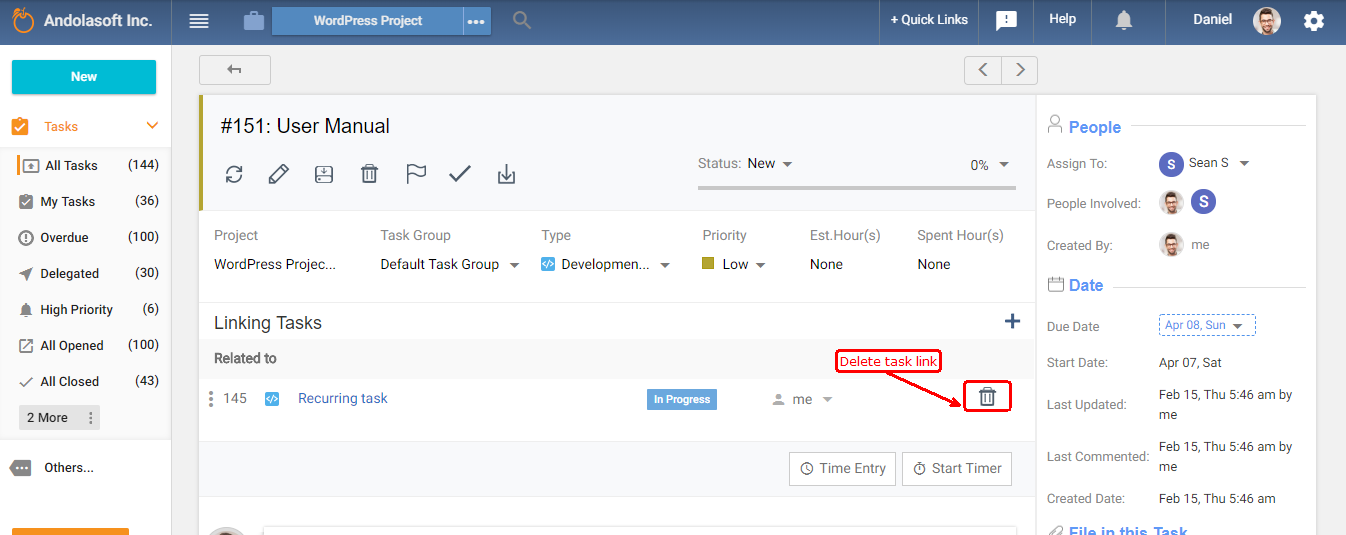 Delete linked task
