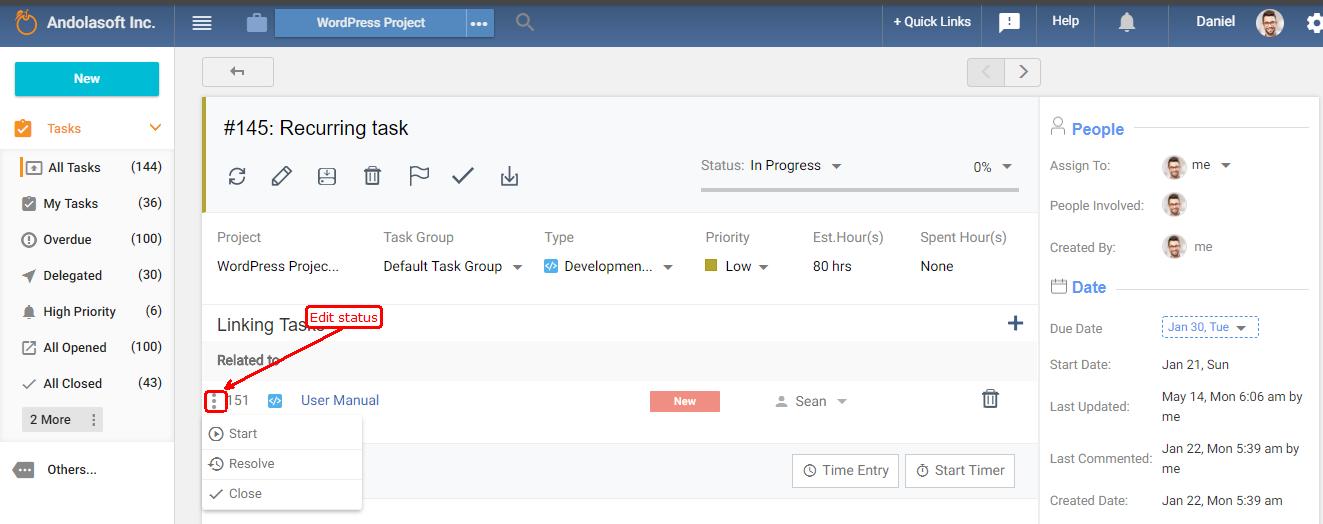 Edit task status of linked task