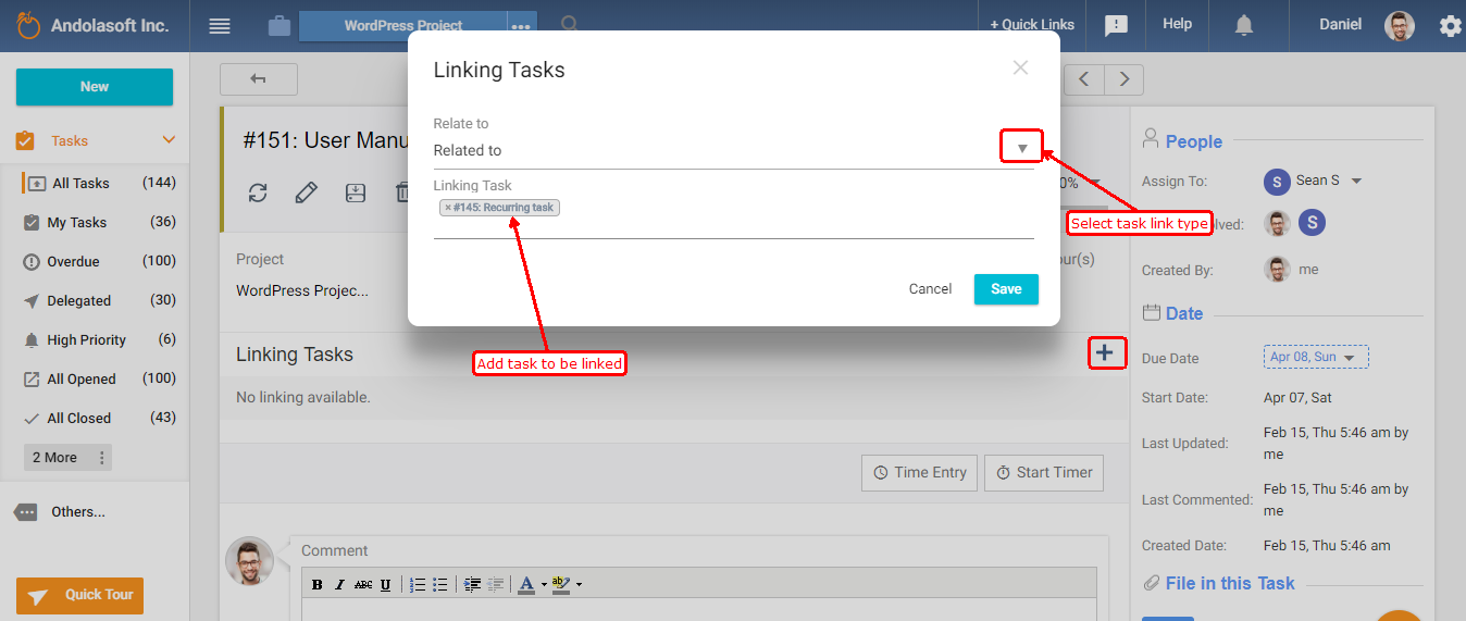 Linking task from task detail page