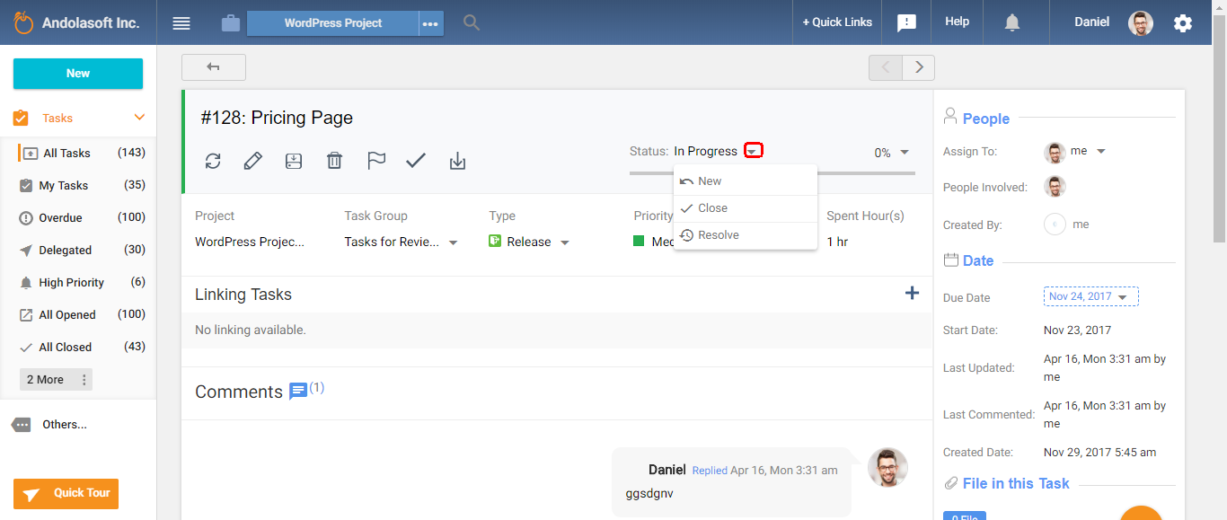 workflow from task details