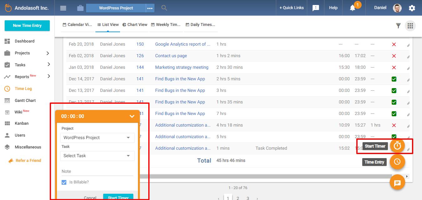 Task-timer-time-log-page