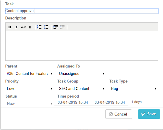 Create task through Gantt