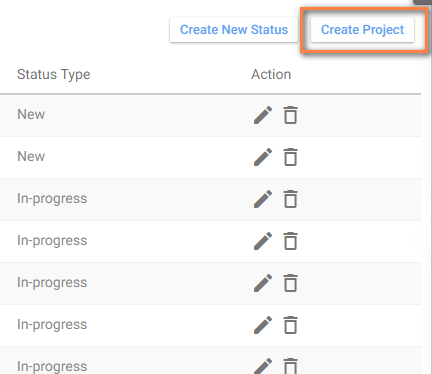 Create project task status