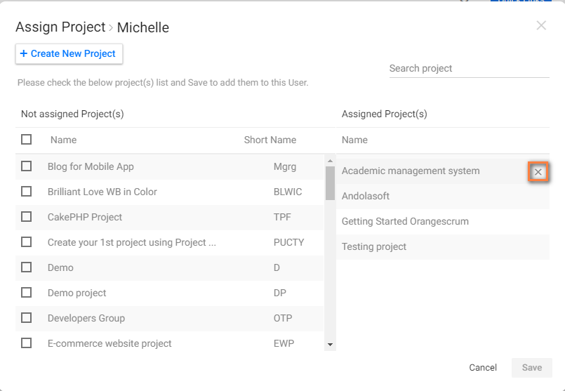 Remove project