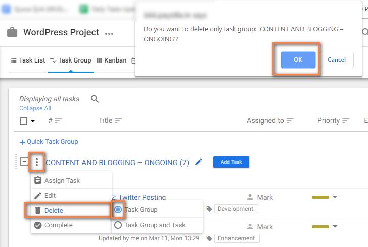 Delete Task Group