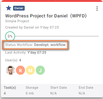 Workflow name in project listing