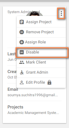 disable users