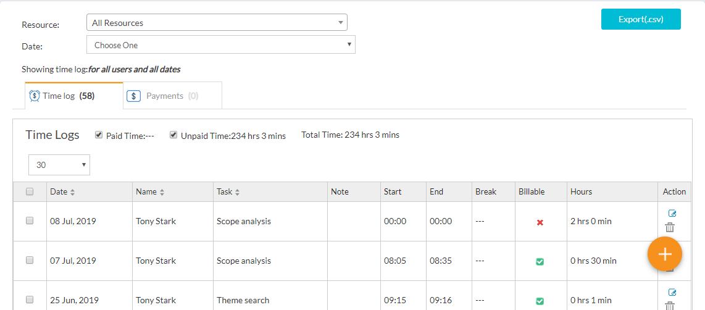 Time log list view