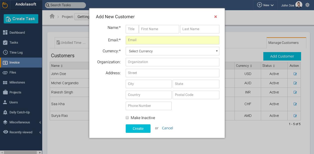 Add new customer details
